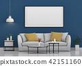 mock up poster frame in interior room , 3D render 42151160