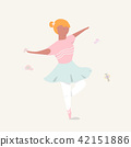 Cute girl ballerina dancing Cartoon 42151886