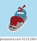 Young man play sledding in snow. Cartoon 42151964
