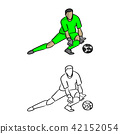 goal keeper in green jersey shirt defensing  42152054