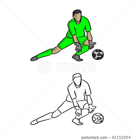 goal keeper in green jersey shirt defensing  42152054