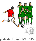 male soccer player shooting a ball to the wall  42152059