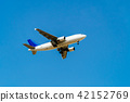 Passenger Airplane Flying On Clear Blue Sky 42152769