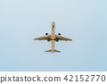Passenger Airplane Flying On Clear Blue Sky 42152770