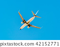 Passenger Airplane Flying On Clear Blue Sky 42152771