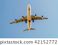 Passenger Airplane Flying On Clear Blue Sky 42152772
