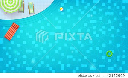 Swimming pool top view. Sunbed, umbrella, ring 42152909