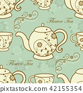 Seamless pattern with teapots and cups 42155354