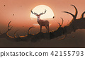 the deer on a tree at sunset 42155793