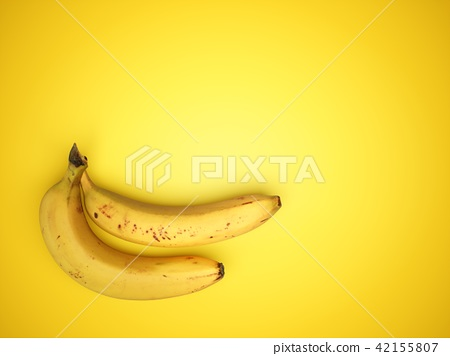 3D Rendering two Bananas Isolated on yellow 42155807