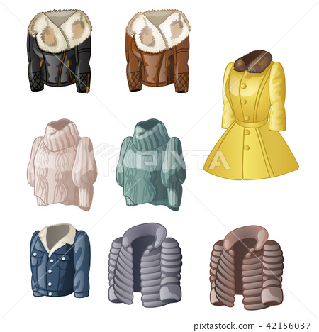Set of womens animated clothing isolated on a white background. Vector cartoon close-up illustration 42156037