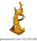 A souvenir in the form of statuettes of the Golden peacock sitting on a tree branch isolated on 42156188
