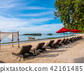 Umbrella and chair on the tropical beach sea and ocean 42161485