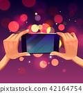 Vector cartoon hands holding smartphone, making photo 42164754