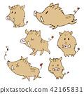手寫的野豬圖新年賀卡動物生肖動物 42165831