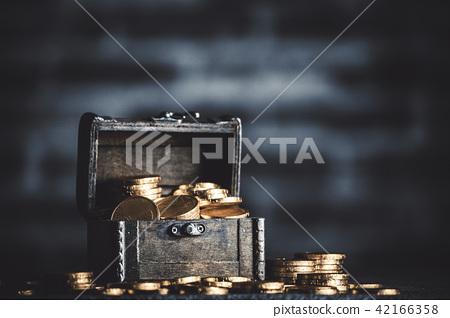 Treasure box gold coin and brick background 42166358