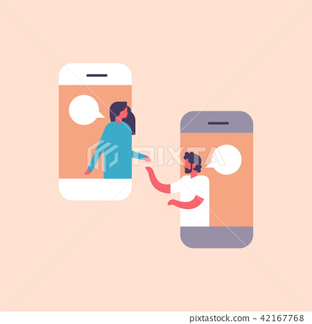 couple chat bubbles mobile application communicating speech dialogue man woman character background 42167768