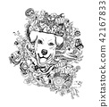 Drawing doodle of dog head with animals ,flower  42167833