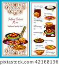 Indian cuisine menu with traditional healthy food 42168136