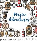 Marine adventure icons and symbols, sea attributes 42168319