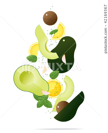 Flying fresh avocados and spices concept 42169367