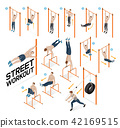 Street workout exercises. Vector illustrations. 42169515