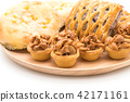 toffee cake,bread with corn and taro pies 42171161