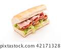 Ham and salad submarine sandwich 42171328