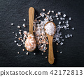 Two spoons with pink himalayan and white  salt 42172813
