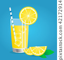 lemonade with Fresh lemon fruits vector  42172914