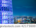 city skyline view and sky tree in Tokyo, Japan 42173600