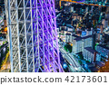city skyline view and sky tree in Tokyo, Japan 42173601