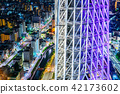 city skyline view and sky tree in Tokyo, Japan 42173602