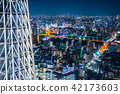city skyline view and sky tree in Tokyo, Japan 42173603