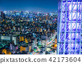 city skyline view and sky tree in Tokyo, Japan 42173604