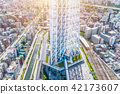 city skyline view and sky tree in Tokyo, Japan 42173607