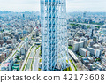city skyline view and sky tree in Tokyo, Japan 42173608