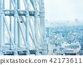 city skyline view and sky tree in Tokyo, Japan 42173611