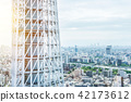city skyline view and sky tree in Tokyo, Japan 42173612