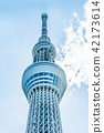 city skyline view and sky tree in Tokyo, Japan 42173614