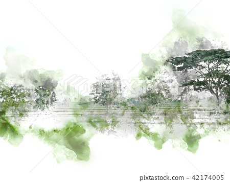 Tree landscape on watercolor painting background. 42174005