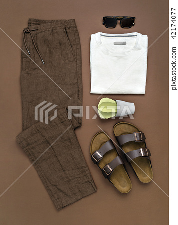 Paper cactus near summer men outfit. 42174077