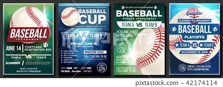 Baseball Poster Set Vector. Design For Sport Bar Promotion. Base. Baseball Ball. Modern Tournament 42174114