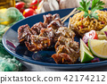 Pork satay with peanut sauce and vegetables 42174212