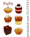 Hand drawn watercolor cakes set, 42174351