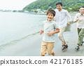 2 세대 가족 바다 42176185