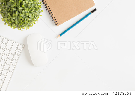 Flat lay photo office desk with mouse and keyboard 42178353