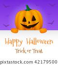 Halloween card with realistic pumpkin. Vector. 42179500