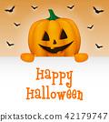 Halloween banner with funny pumpkin. Vector. 42179747
