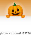 Halloween - banner with funny pumpkin. Vector. 42179786